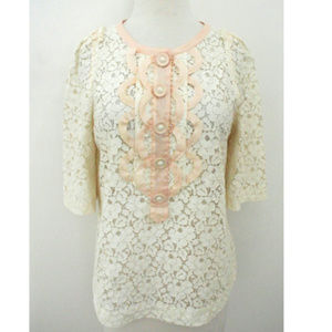 3.1 PHILLIP LIM ivory floral lace top short sleeve